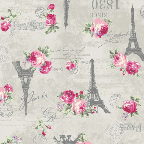 Ruru Rose Bouquet in Paris cotton fabric by Quilt Gate Ru2370-12B Eiffel Tower Roses on Gray