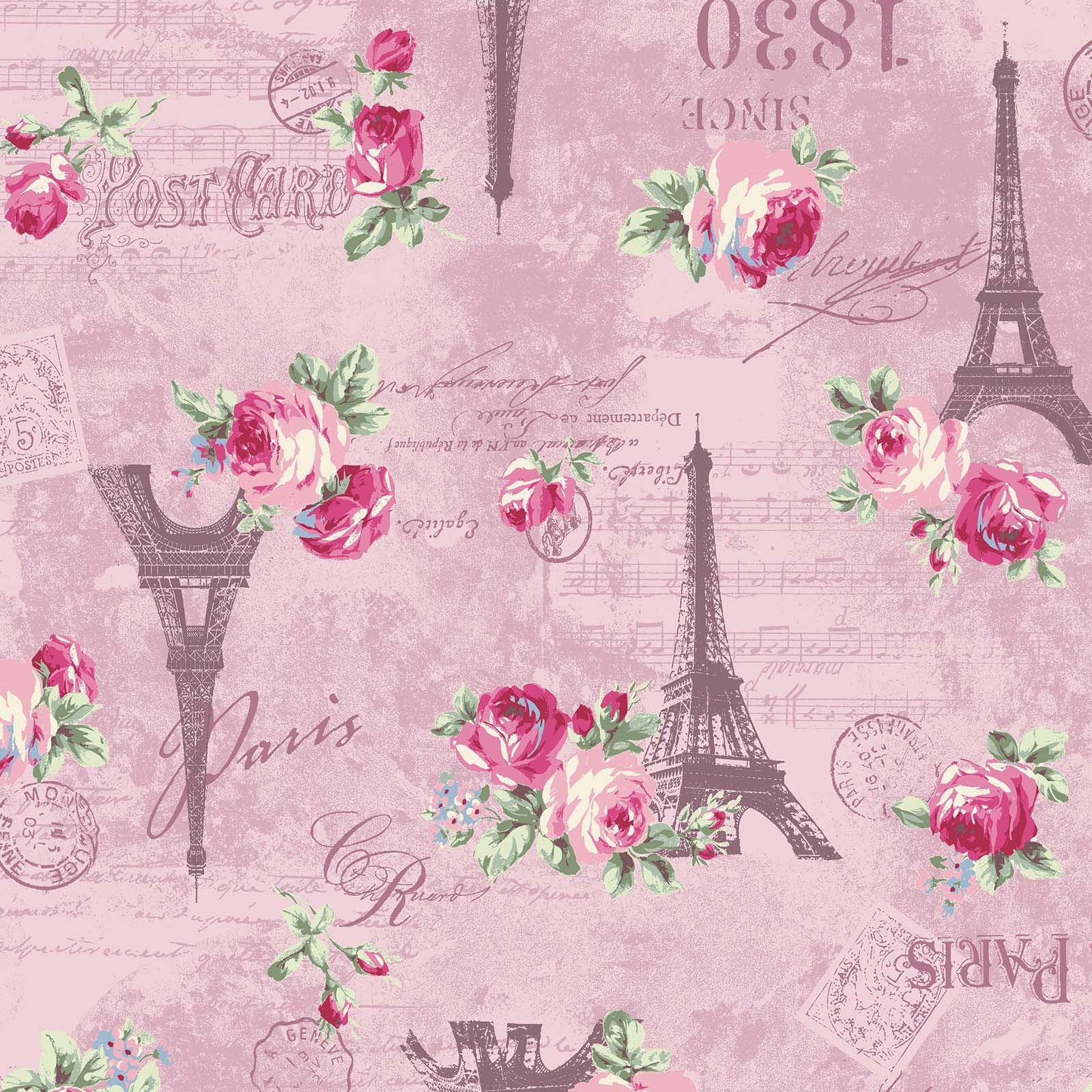 Ruru Rose Bouquet in Paris cotton fabric by Quilt Gate Ru2370-12C Eiffel Tower Roses on Pink