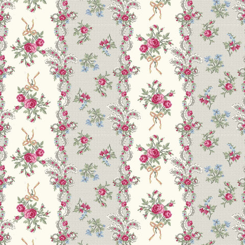 Ruru Rose Bouquet in Paris cotton fabric by Quilt Gate Ru2370-13B Rose Stripes Cream