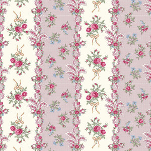 Ruru Rose Bouquet in Paris cotton fabric by Quilt Gate Ru2370-13C Rose Stripes Pink