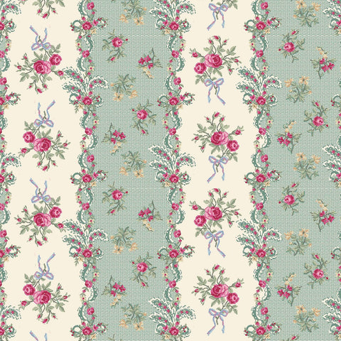 Ruru Rose Bouquet in Paris cotton fabric by Quilt Gate Ru2370-13D Green Stripes Pink