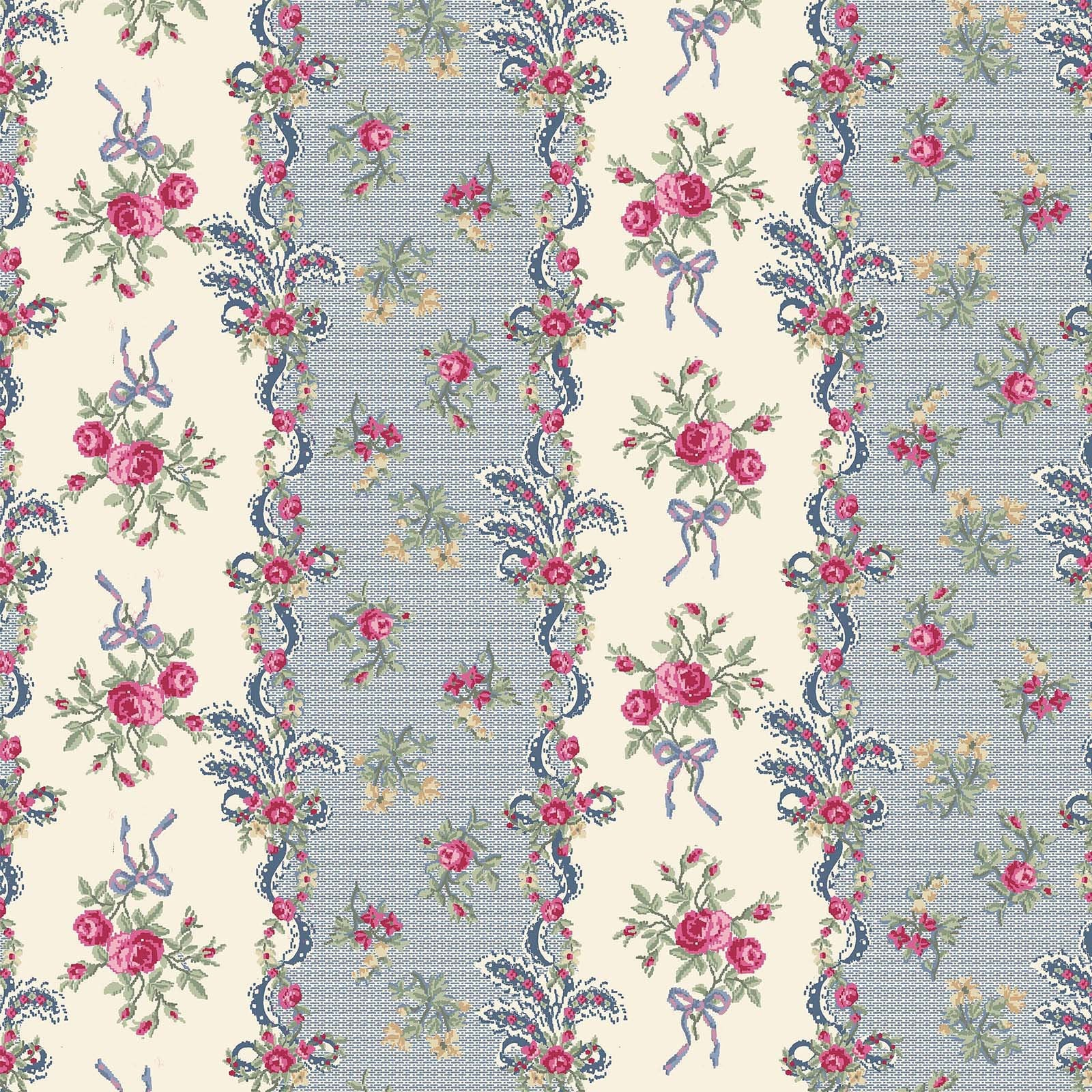 Ruru Rose Bouquet in Paris cotton fabric by Quilt Gate Ru2370-13E Green Stripes Blue