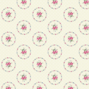 Ruru Rose Bouquet in Paris cotton fabric by Quilt Gate Ru2370-14A Circles of Roses on Cream