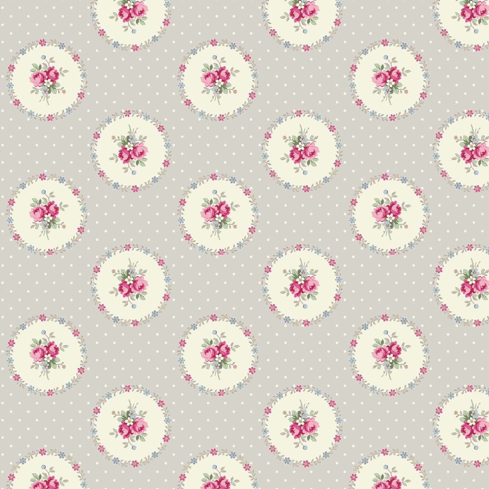 Ruru Rose Bouquet in Paris cotton fabric by Quilt Gate Ru2370-14B Circles of Roses on Gray