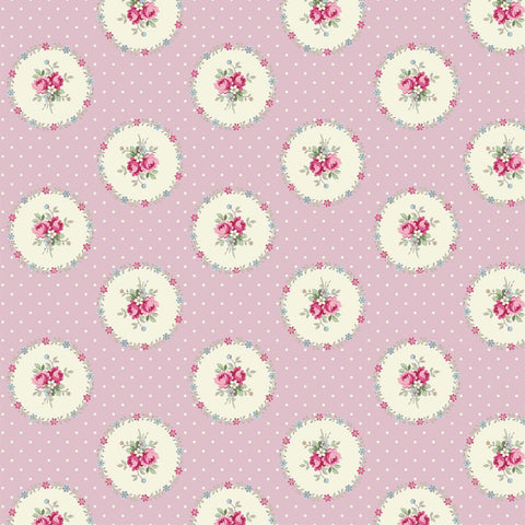 Ruru Rose Bouquet in Paris cotton fabric by Quilt Gate Ru2370-14C Circles of Roses on Pink