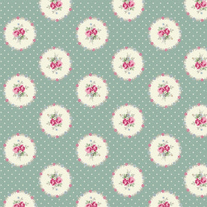 Ruru Rose Bouquet in Paris cotton fabric by Quilt Gate Ru2370-14D Circles of Roses on Green