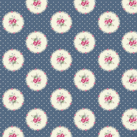 Ruru Rose Bouquet in Paris cotton fabric by Quilt Gate Ru2370-14E Circles of Roses on Blue
