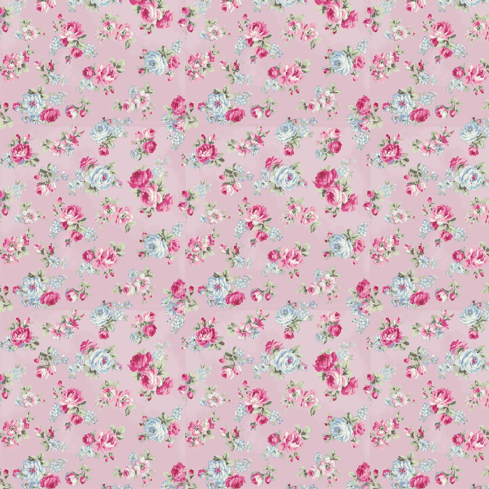 Ruru Rose Bouquet in Paris cotton fabric by Quilt Gate Ru2370-15C Small Roses on Pink