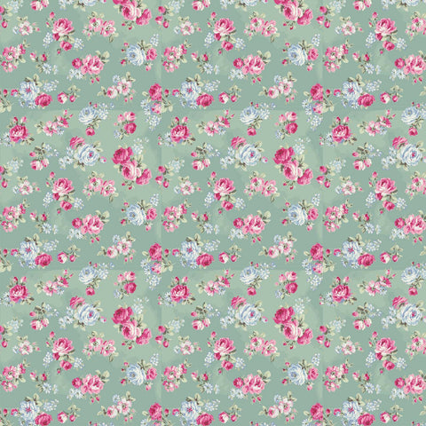 Ruru Rose Bouquet in Paris cotton fabric by Quilt Gate Ru2370-15D Small Roses on Green