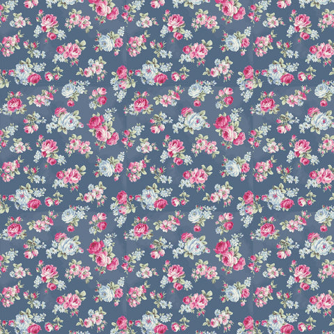 Ruru Rose Bouquet in Paris cotton fabric by Quilt Gate Ru2370-15E Small Roses on Blue