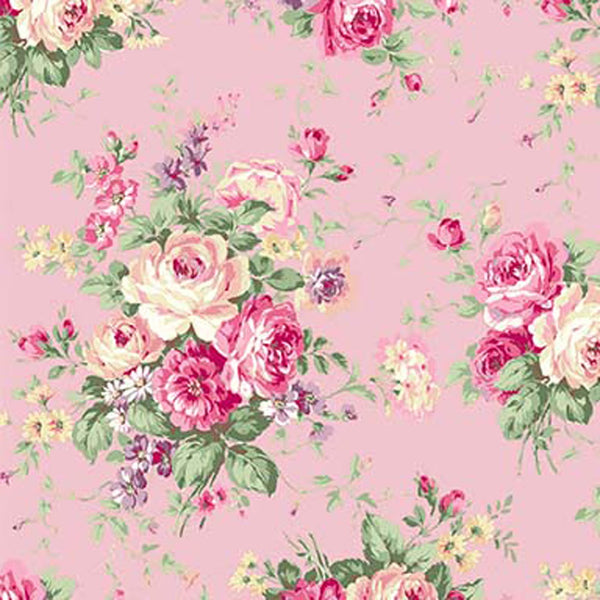 Rose Garden RU2410-11B Large bouqet on pink by Quilt Gate