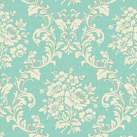 Ruru Tea Party Collection cotton fabric by Quilt Gate Ru2270-17C Green/Cream
