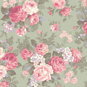 Ruru Classic Library Collection cotton fabric by Quilt Gate Ru2290-11C Roses on Green