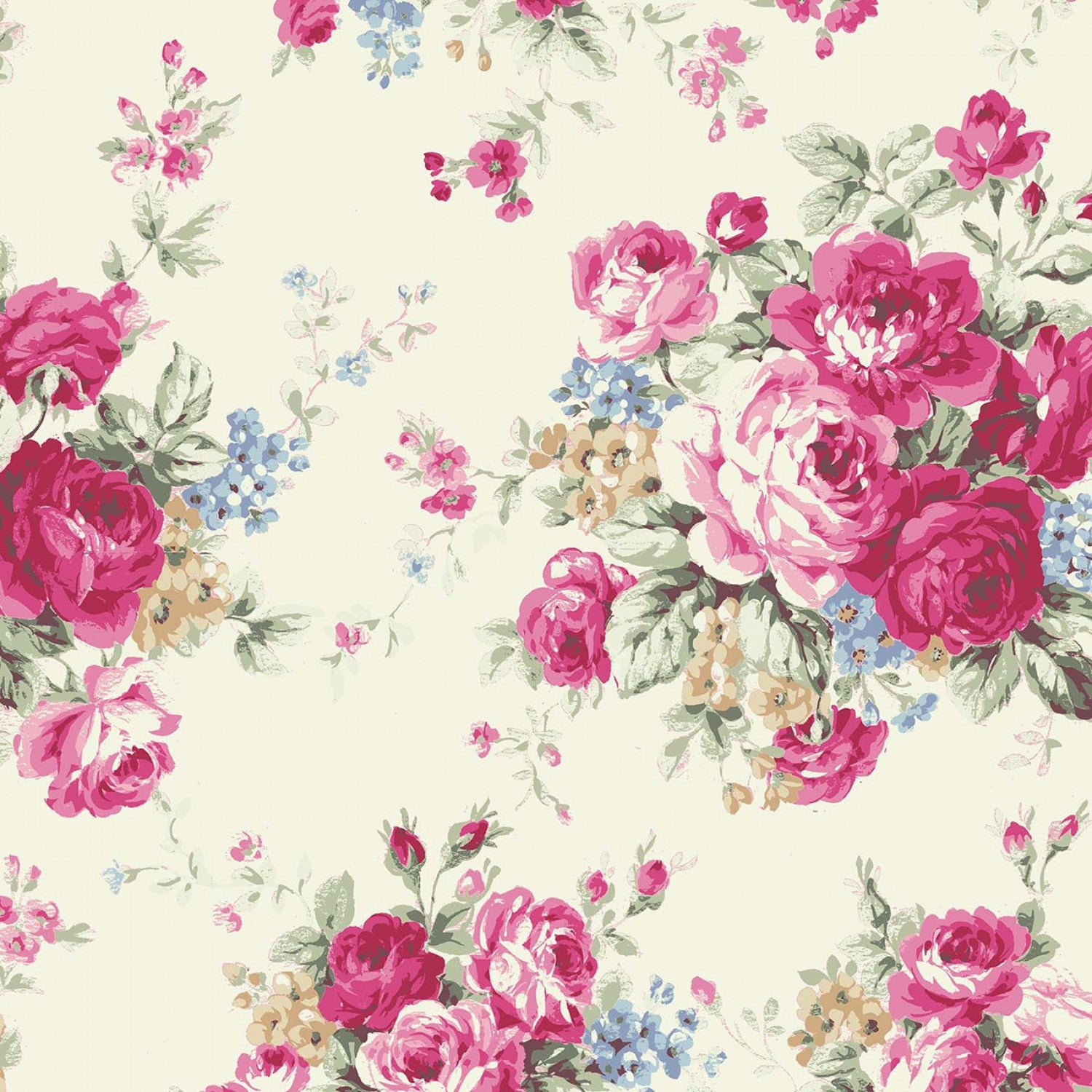 Ruru Rose Bouquet in Paris cotton fabric by Quilt Gate Ru2370-11A Large Bouquet on Cream
