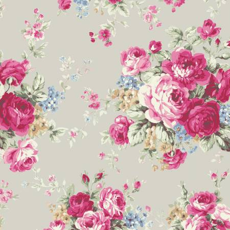 Ruru Rose Bouquet in Paris cotton fabric by Quilt Gate Ru2370-11B Large Bouquet on gray