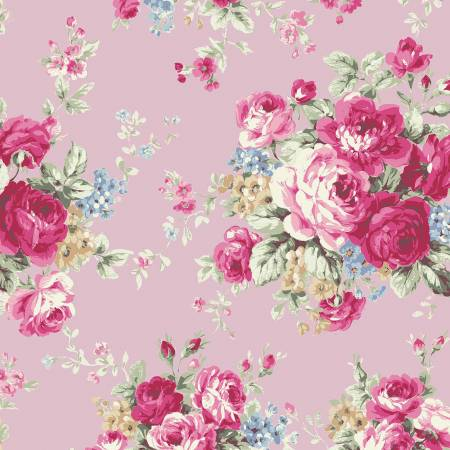 Ruru Rose Bouquet in Paris cotton fabric by Quilt Gate Ru2370-11c Large Bouquet on pink