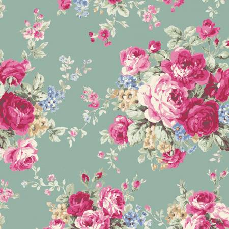 Ruru Rose Bouquet in Paris cotton fabric by Quilt Gate Ru2370-11D Large Bouquet on Green