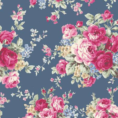Ruru Rose Bouquet in Paris cotton fabric by Quilt Gate Ru2370-11E Large Bouquet on blue