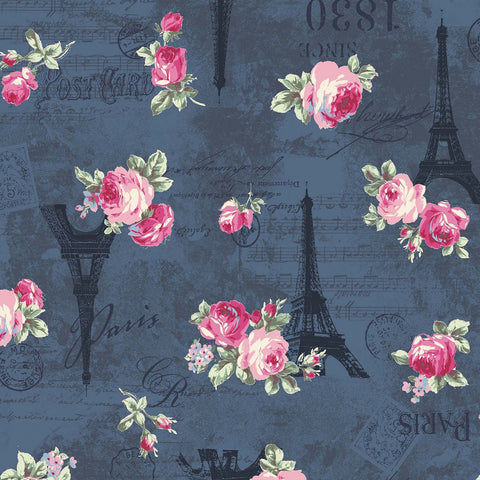 Ruru Rose Bouquet in Paris cotton fabric by Quilt Gate Ru2370-12D Eiffel Tower Roses on Blue
