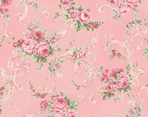 Ruru Rose Bouquet cotton fabric by Quilt Gate Ru2220-16B Roses on Pink