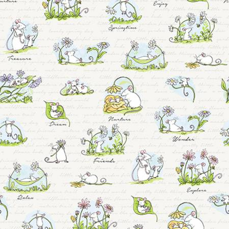 Light Khaki Scene  Daisy Daisy  Cotton Fabric by Clothworks Y2652-11