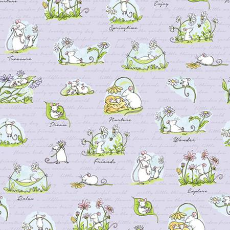 Light Purple Scene  Daisy Daisy  Cotton Fabric by Clothworks Y2652-26