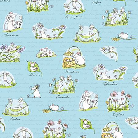 Light Sky Scene  Daisy Daisy  Cotton Fabric by Clothworks Y2652-97
