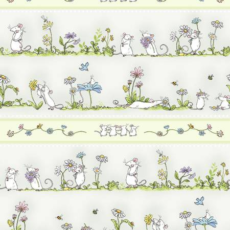 Light Khaki Daisy Pic Stripe  Daisy Daisy  Cotton Fabric by Clothworks Y2653-11