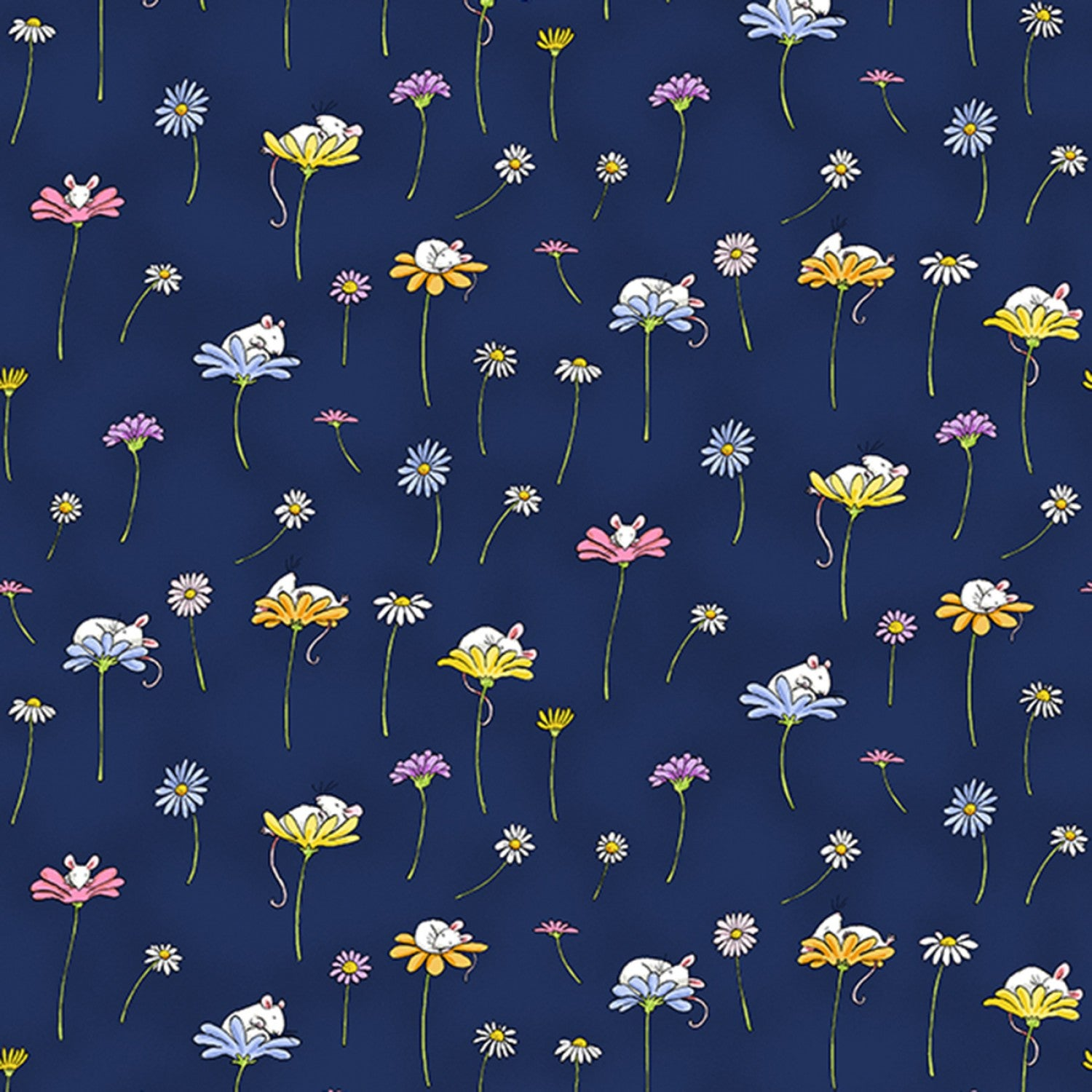 Light Navy Daisy and Mouse  Daisy Daisy  Cotton Fabric by Clothworks Y2654-93