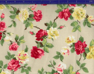 Yuwa cotton fabric  Red and Yellow Roses AF666014E