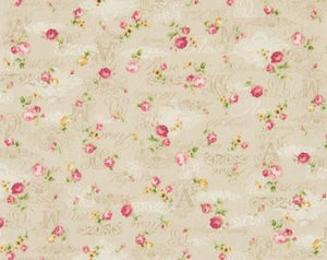 Roses and Script on light beige cotton fabric by Cosmo AP42401-1A