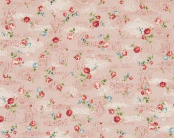 Roses and Script on light beige cotton fabric by Cosmo AP42401-1B