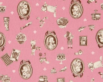 Alice in Wonderland cotton fabric by Cosmo AP42409-1B Pink