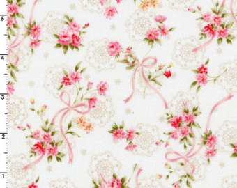 Garden Path  cotton fabric by Cosmo AP52311-1A Ribbons and Roses
