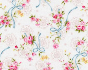 Garden Path  cotton fabric by Cosmo AP52311-1B Ribbons and Roses