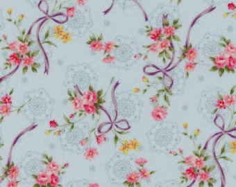 Garden Path  cotton fabric by Cosmo AP52311-1C Ribbons and Roses on Blue