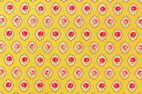 Yuwa cotton fabric Vintage Inspired Floral on Yellow AT116529C