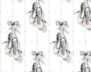 Arabesque  On Pointe cotton fabric by Anna Griffin CF2301-1 Ballet Shoes