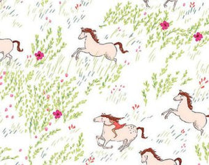 Wee Wanderer Summer Ride White cotton retro fabric by Sarah Jane DC6227-wht