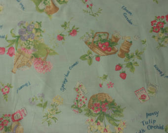 Yuwa cotton fabric Summer and Spring flowers on Pale Aqua FO826105C