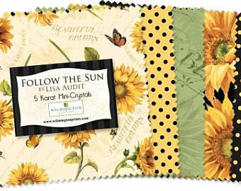 5 inch Squares Pre Cut Follow the Sun bundle fabric by Lisa Audit for Wilmington Fabrics