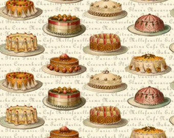 Tea Dainties cotton fabric by Lakehouse Dry  Goods Penelope LH10037champagne