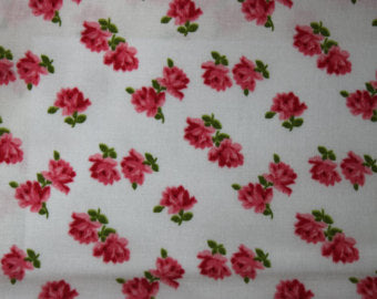 Pam Kitty Bouquet cotton fabric by Lakehouse Dry  Goods  LH10089white Rosie Toss