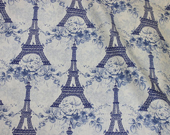 Eiffel Tower cotton fabric by Lakehouse Dry  Goods Penelope LH10054peri