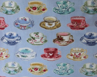 Tea Cups cotton fabric by Lakehouse Dry  Goods Penelope LH11059peri