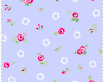 Pam Kitty cotton fabric by Lakehouse Dry  Goods  LH13022periwinkle