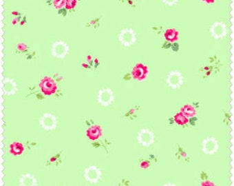 Pam Kitty cotton fabric by Lakehouse Dry  Goods  LH13022mint Wreaths and Roses