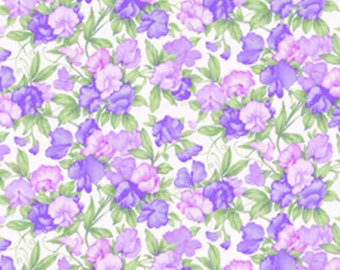 Sausalito Cottage  cotton fabric by Lakehouse Dry  lh13055purple Sweetpeas