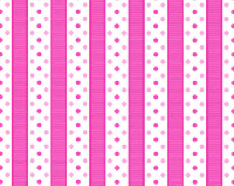 Sausalito Cottage  cotton fabric by Lakehouse Dry  lh13067Raspberry Dotted Stripe