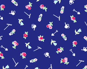 Pam Kitty cotton fabric by Lakehouse Dry  Goods  LH4000navy